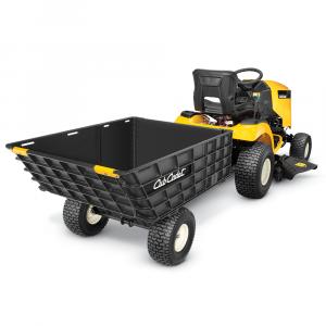 Erittäin vahva ja monikäyttöinen Cub Cadetin peräkärry ajoleikkurin tai traktorin perään. Kokoontaitettavat laidat mahdollistavat peräkärryn monipuolisen käytön. Jalkapolkimella toimiva kippi. 800lb / 362kg maks. painokuormitus. Helppo varastoida laidat taitettuna. Jos kiinnostuit kysy tarjous rahdista!